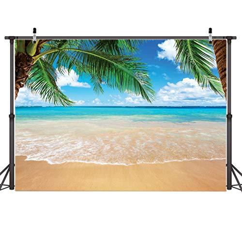 AIIKES 2.1Mx1.5M/7x5FT Verano Tropical Playa Fondo Mar Isla Isla Arboles Fotografía Fondo para Imagen Azul Mar Cielo Sol Bebé Cumpleaños Fiesta Decoraciones Foto Estudio 11-063