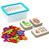 LiKee Alphabet Number Flash Cards Wooden Letter Puzzle ABC Sight Words Match Games Animal Counting Board Preschool Educational Montessori Toys for Toddlers Boys Girls 3+ Years (36 Cards& 37 Blocks)