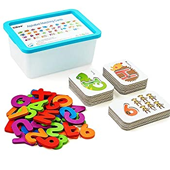 LiKee Alphabet Number Flash Cards Wooden Letter Puzzle ABC Sight Words Match Games Animal Counting Board Preschool Educational Montessori Toys for Toddlers Boys Girls 3+ Years  36 Cards& 37 Blocks