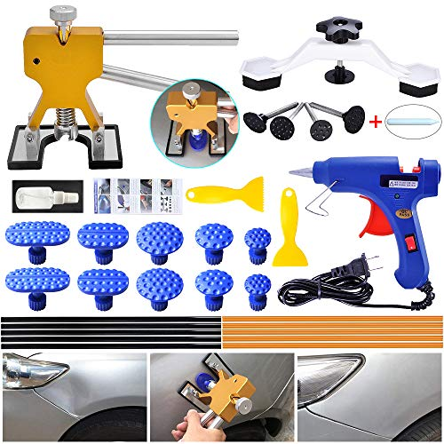 YOOHE Auto Paintless Dent Repair Kits - Golden Car Dent Puller with Bridge Dent Puller Kit for Car Hail Damage and Door Dings Repair