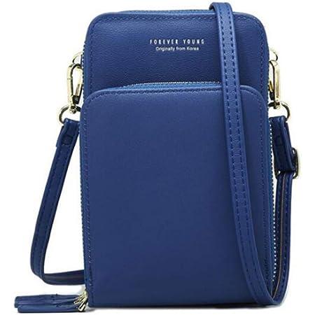 Sawekin Damen Handy Schultertasche Brieftasche Kleine Mini Umhängetasche Handytasche Handy Geldbeutel Geldbörse Messenger Tasche Mädchen(Blau)