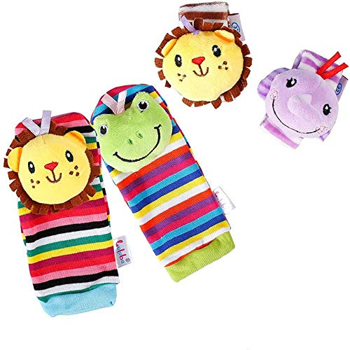 Buy daisy's dream 4 Packs Baby Wrist Rattles and Foot Finder Socks Toys Set, Animal Soft Educational...