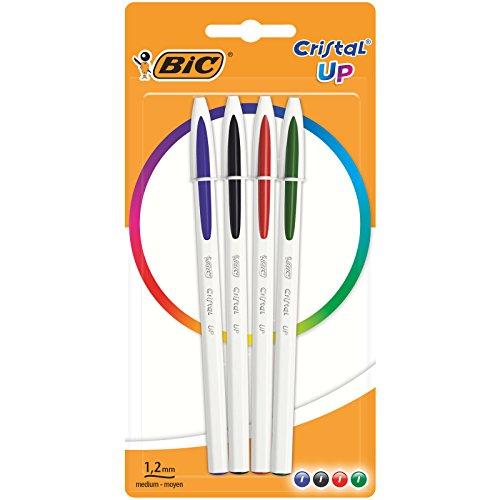 BIC Cristal Up bolígrafos punta media (1,2 mm) – colores Surtidos, Blíster de 4 unidades