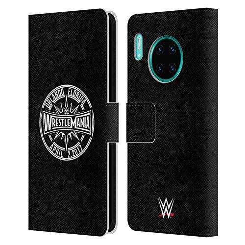Head Case Designs Offizielle WWE Schwarzweiss Wrestlemania 33 Leder Brieftaschen Huelle kompatibel mit Huawei Mate 30 Pro / 5G