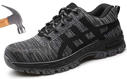 Ucayali Zapatos de Seguridad Hombre Trabajo Comodos Ligeros Transpirables Zapatillas Trabajo Seguridad Deportivo Punta de Acero para Electricista Soldador Cocina Construccion(022 Negro, 43 EU)