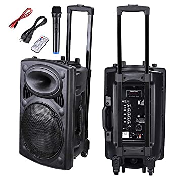 AW Portable 1200W Active PA Speaker Mic AMP Bluetooth USB SD LCD FM Remote w/Wireless Microphone