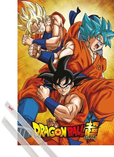 1art1 Dragon Ball Poster (91x61 cm) Dragon Ball Super, Goku Et Kit De Fixation Transparent