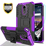 YmhxcY LG Stylo 3 Phone Case,LG Stylo 3 Plus Case,LG Stylus 3 Case with HD Screen Protector,Military Armor Drop Tested [Heavy Duty] Hybrid Case with Kickstand for LG LS777-LT Purple