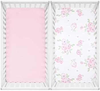 TILLYOU Microfiber Floral Crib Sheets for Girls, Silky Soft Toddler Sheets Printed, Breathable Cozy Baby Sheet Set, 2...