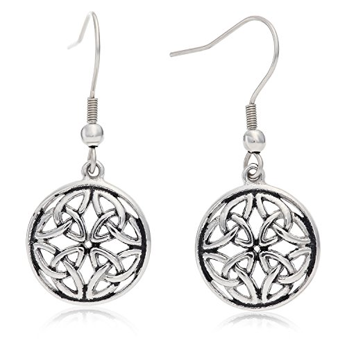 Stainless Steel Celtic-Knot Round Drop Earrings, With Fishhook Backing, For Pierced Ears, Great for Sensitive Ears, By Regetta Jewelry