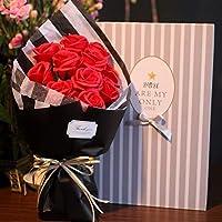 バレンタインデーの贈り物のバラの花束、ソープフラワーギフト バレンタイン・デー (Color : Red)