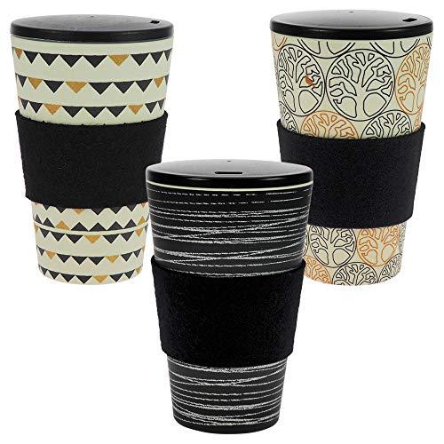 ebos 3er-Set Bambus Coffee-to-Go-Becher | Schraubdeckel, Wollfilz-Griffring, Kaffee-Becher, wiederverwendbar, umweltfreundlich, spülmaschinengeeignet (O.L.E, Gardenparty, Baum d. Lebens Black&Gold)
