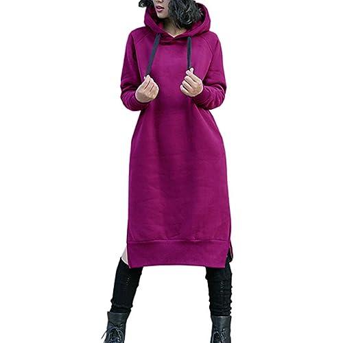 3b4c4f2d9aa NUTEXROL Women s Thickening Long Fleece Sweatshirt String Hoodie Dress  Pullover Plus Size