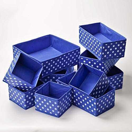 Holo 10er Set Aufbewahrungsbox für Schubladen Organizer Vlies Stoff Kleiderschrank Ordnungssystem Wickelkommode Ordnungsbox Trennsystem Box Baby Bad Wäsche BH Blau/Weiß