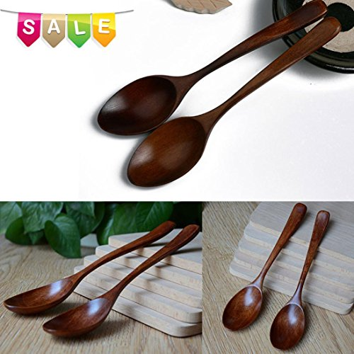 Kanzd Wooden Spoon Bamboo Kitchen Cooking Utensil Tool Soup teaspoon Catering Children Eating Spoon (Brown)