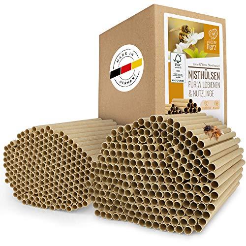 wildtier herz I 200x ÖKO Nisthülsen für Wildbienen Ø 6 und 8 mm Set, Länge 15cm inkl. E-Book von Biologen, Pappröhrchen für Insektenhotel aus Papier & Gras, Niströhren Füllmaterial Nisthilfe Bienen