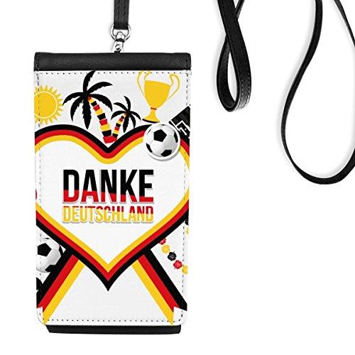 DIYthinker Fútbol de Alemania Bandera de Ropa Cultura Ilustración del patrón de imitación de Cuero del Monedero de Smartphone Colgantes Negro teléfono