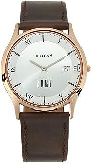 ساعة ايدج بمينا ابيض وعرض انالوج مع خاصية التاريخ للجنسين من تيتان