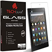 """TECHGEAR Amazon Fire HD 8"""" Tablet GLASS Edition Genuine Tempered Glass Screen Protector Guard Cover (for NEW 2017, 2016 & 2015 Fire HD 8)"""