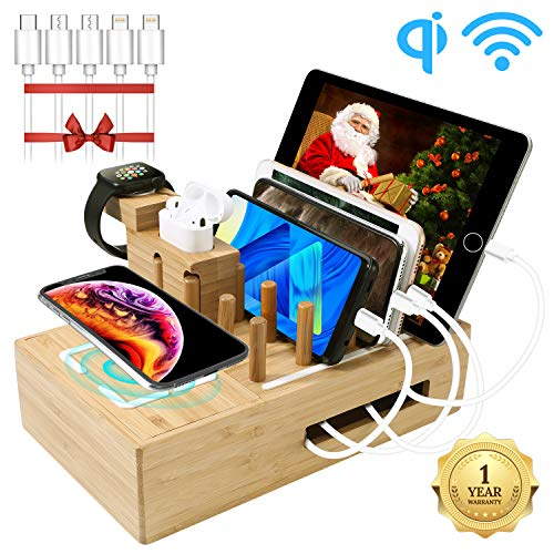 Smart Bamboo Wireless & USB Charging Station for Multiple Devices | Fast Charging Docking Station Organizer with 7 USB Ports and 1 Wireless Charging Pad for iPhone, iPad, iWatch, Android Phone&Tablet