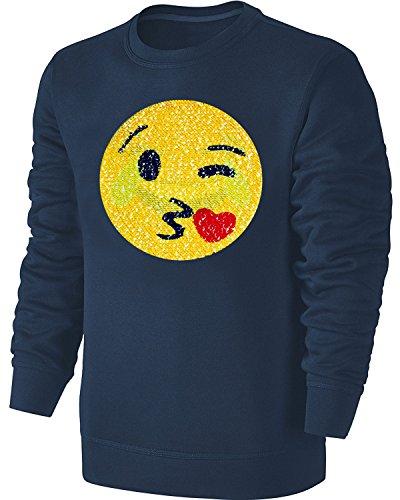 Blackshirt Company Kinder Wende Pailletten Sweatshirt Emoji Streichel Pullover Blau Size 140