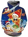 chicolife SüßE Katze mit Pizza Hoodies 3D Print Pullover Langarm Pullover Sweatshirt für Männer Frauen Party/Wandern/Camping/Urlaub