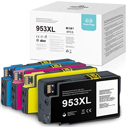 4 Superpage 953XL Ersatz für HP 953XL 953 XL Druckerpatronen mit HP OfficeJet Pro 7740 7720 8710 8720 8730 8715 8210 7730 8725 8740 8718(1Schwarz/1Cyan/1Magenta/1Gelb)