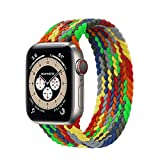 Bucle solitario trenzado para la banda de reloj de Apple 44mm 40 mm 38mm 42mm de tela Nylon Pulsera elástica Pulsera Iwatch Series 3 4 5 SE 6 Correa ( Color : Verde , Talla : 42mm or 44mmSS )