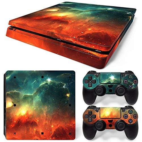 46 North Design Playstation 4 PS4 Slim Folie Skin Sticker Konsole Galaxy aus Vinyl-Folie Aufkleber Und 2 x Controller folie