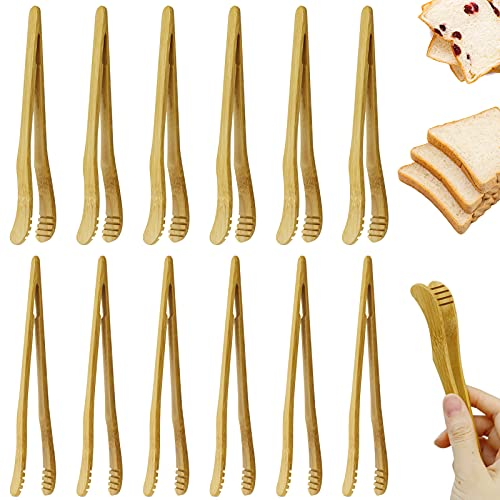 CZWESTC 12pcs Reusable Bamboo Toast Tongs - Wooden Toaster Tongs For Cooking & Holding - 7 Inch Long - Ideal Kitchen Utensil For Cheese Bacon Muffin Fruits Bread