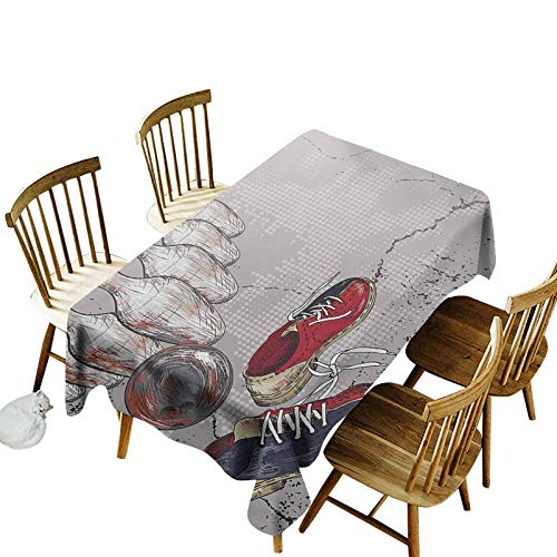 Bowling Party Oblong Tablecloth Bowling Shoes Pins and Ball in Artistic Grunge Style Print Waterproof Table Cover for Kitchen 60 x 102 Inch