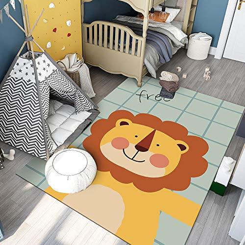 Spieldecke Teppich Kinderzimmer Kinderteppich Matte Mächtiges Löwe Grün Gelb soft Rutschfest Strapazierfähig Rug140×200CM