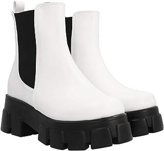Boots Combat Suela Gruesa Track Para Mujer Blanco Con Resorte Negro