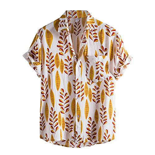 Blouse for Men Colorful Leaves Print Turn Down Collar Buttons Beach Short Sleeve Summer Casual Loose Tops Tee
