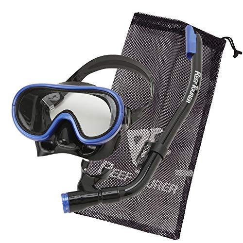 REEF TOURER RC0203 Leaf Tourer Snorkeling Mask Snorkel for Kids, 2-Piece Set, Silicone, 4-9 Years Old, Mesh Bag Included, Black Manta Blue