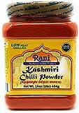 Rani Kashmiri Chilli Powder (Deggi Mirch, Low Heat) Ground Indian Spice 16oz (1lb) 454g PET Jar ~ All Natural | Salt-Free | Vegan | No Colors | Gluten Friendly | NON-GMO | Indian Origin