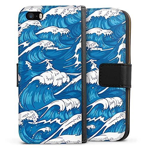 Sideflip compatibel met Apple iPhone SE (2016-2019) Bookcase Flipcase Oceaan Golven Zee