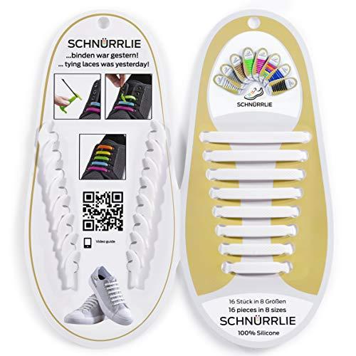 SCHNÜRRLIE elastische Silikon Schnürsenkel ohne Binden für Kinder & Erwachsene, 16 Stück in 8 Größen, Farbe Weiß
