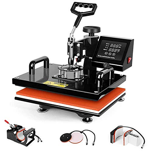 GOLDORO Pro 5 in 1 Heat Press Machine 12x15 inch Industrial Sublimation Printing Press Heat Transfer Machine for T-Shirts Hat Mug Plate Cap Sports Bottle 360 Degree Rotation