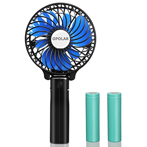 Small Handheld Battery Operated Face Fan with 2 Batteries, Portable & Rechargeable, Folding Design, Strong Airflow, 3 Settings, Ideal for Disney & Travel & Dry Eyelash, Blue, 4Inch (10-1000-F218)