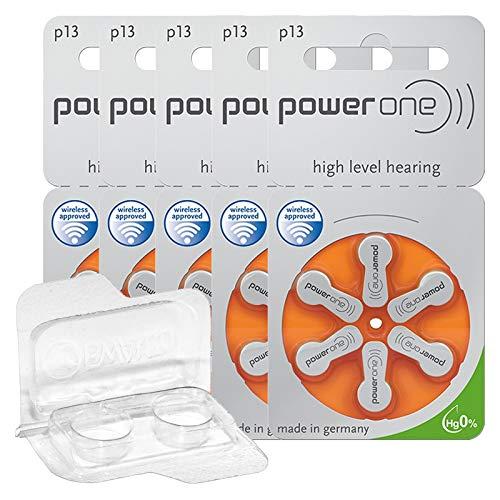 30x/60x/120x Power One Hörgerätebatterien + Aufbewahrungsbox für 2 Hörgerätebatterien (10, 13, 312, 675), Batteriebox für 2 Knopfzellen (30 Batterien (5x 6er Blister), Orange (13))
