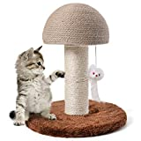 GiftParty Cat Scratching Post for Kitty, Mushroom Claw Scratching Post, Natural Sisal Cat Scratchers Pole with Hanging Mouse Cat Interactive Toys