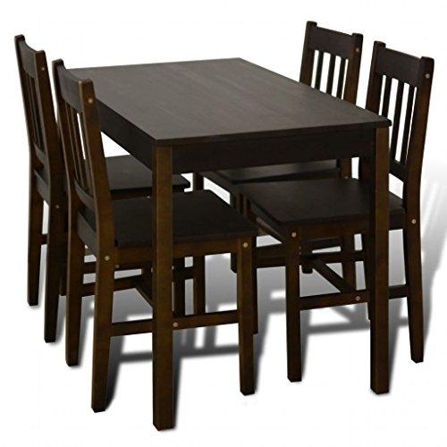 vidaXL Mesa de Comedor con 4 sillas de Madera, Color marrón