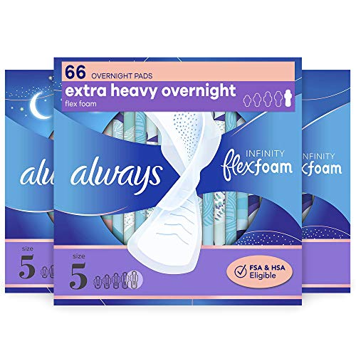Always Infinity Feminine Pads with Wings for Women Size 5 Extra Heavy Overnight Unscented 22 Count Pack of 3
