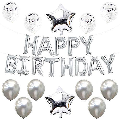 Globos de Cumpleanos Plateados, Globos de Guirnalda Happy Birthday, Globos de Confeti Plateados, Globos Decoración de Fiesta de Cumpleaños para Niñas Hombres Mujeres
