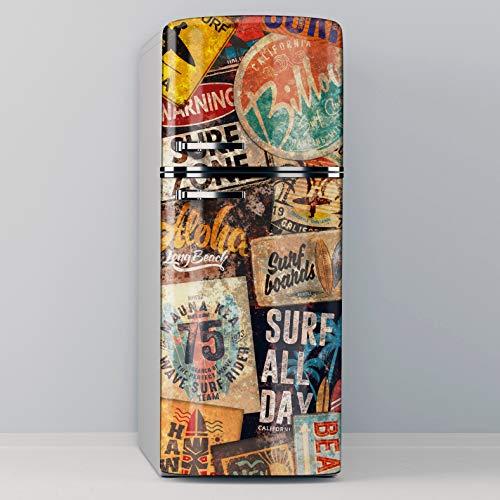 Vinile adesivo decorativo per frigorifero, speciale senza bolle, cartello da surf vintage (70 x 185 cm)