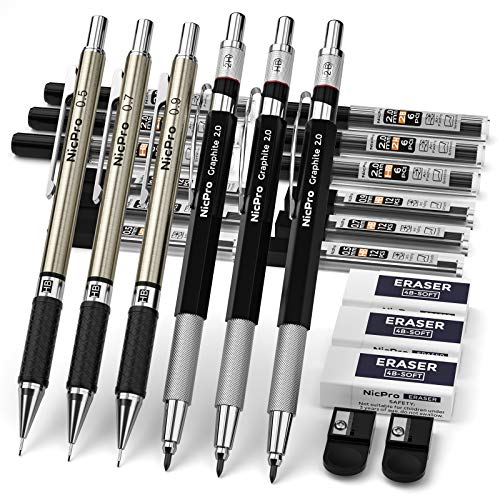 Nicpro 6PCS Art Mechanical Pencils Set 3 PCS Metal Drafting Pencil 05 mm amp 07 mm amp 09 mm and 3 PCS 2mm Graphite Lead Holder 2B HB 2H For WritingSketching DrawingWith 12 Tubes Lead Refills