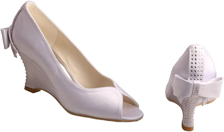 Wedopus MW002 Women's Peep Toe Wedge Heel Satin Rhinestones Bow Bridal shoes