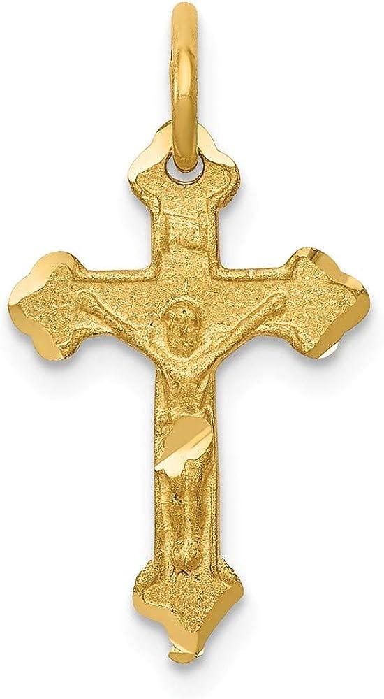 14k Yellow Gold INRI Diamond-Cut Crucifix 22 L- W- Ranking TOP19 mm Pendant Free shipping on posting reviews