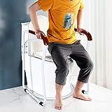 Greensen Toilettengestell Toiletten Aufstehhilfe Sichere WC Stützhilfe Rutschfest Sicherheitsgestelle Badezimmer WC Aufstehhilfe mit Holz Haltegriff Toilettenstützstange für Senioren und Deaktiviert - 7
